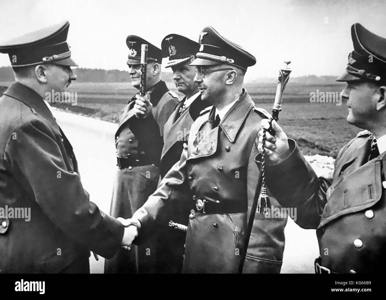 ADOLF HITLER at left with from left: Field Marshal Wilhelm Keitel, Admiral Karl Doenitz, Heinrich Himmler, Field - Stock Image