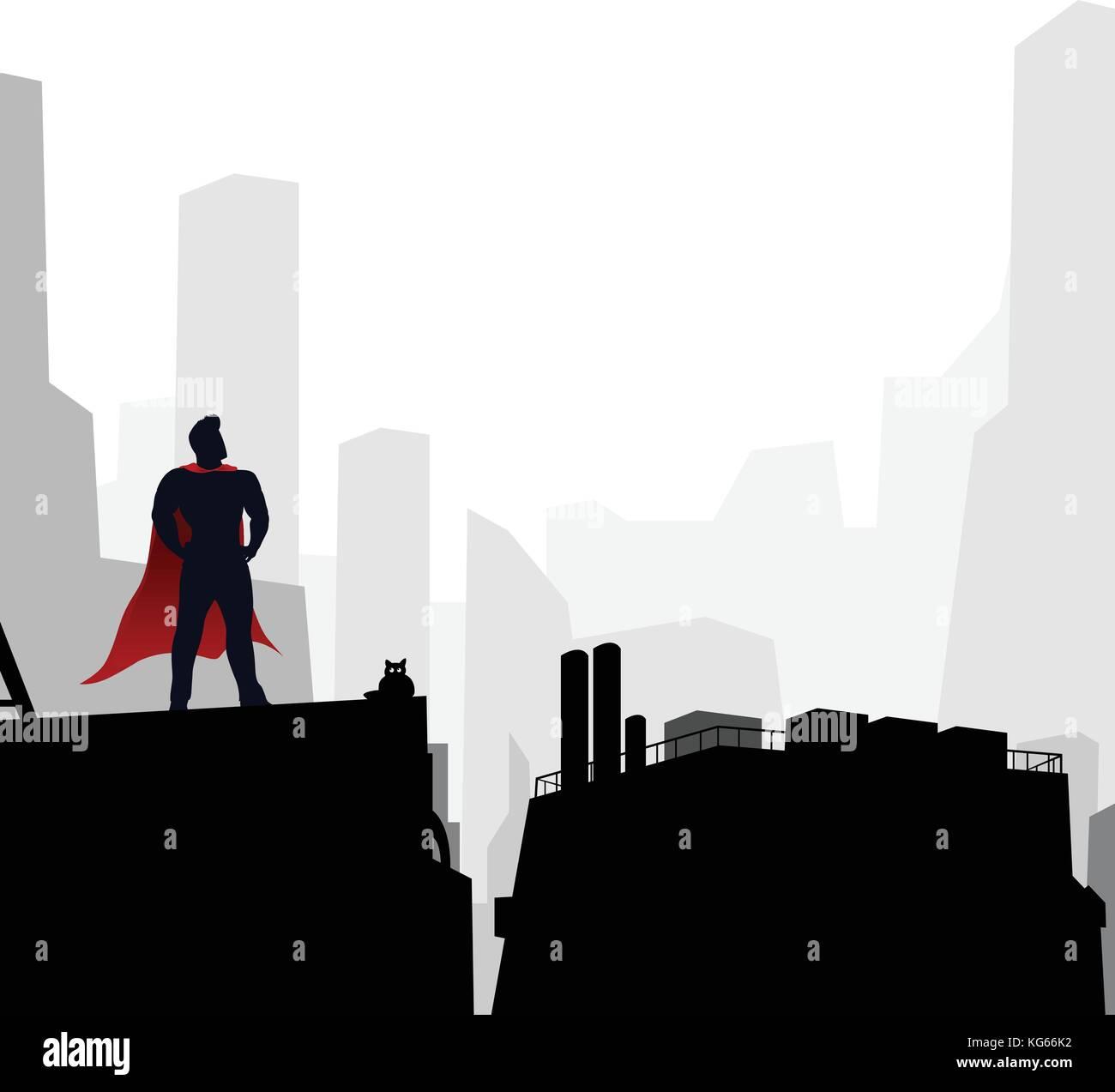 hero in the city - Stock Vector