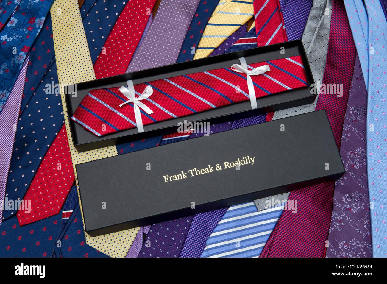 Frank Theak & Roskilly tie company, with owners John & Carol Mott. - Stock Image