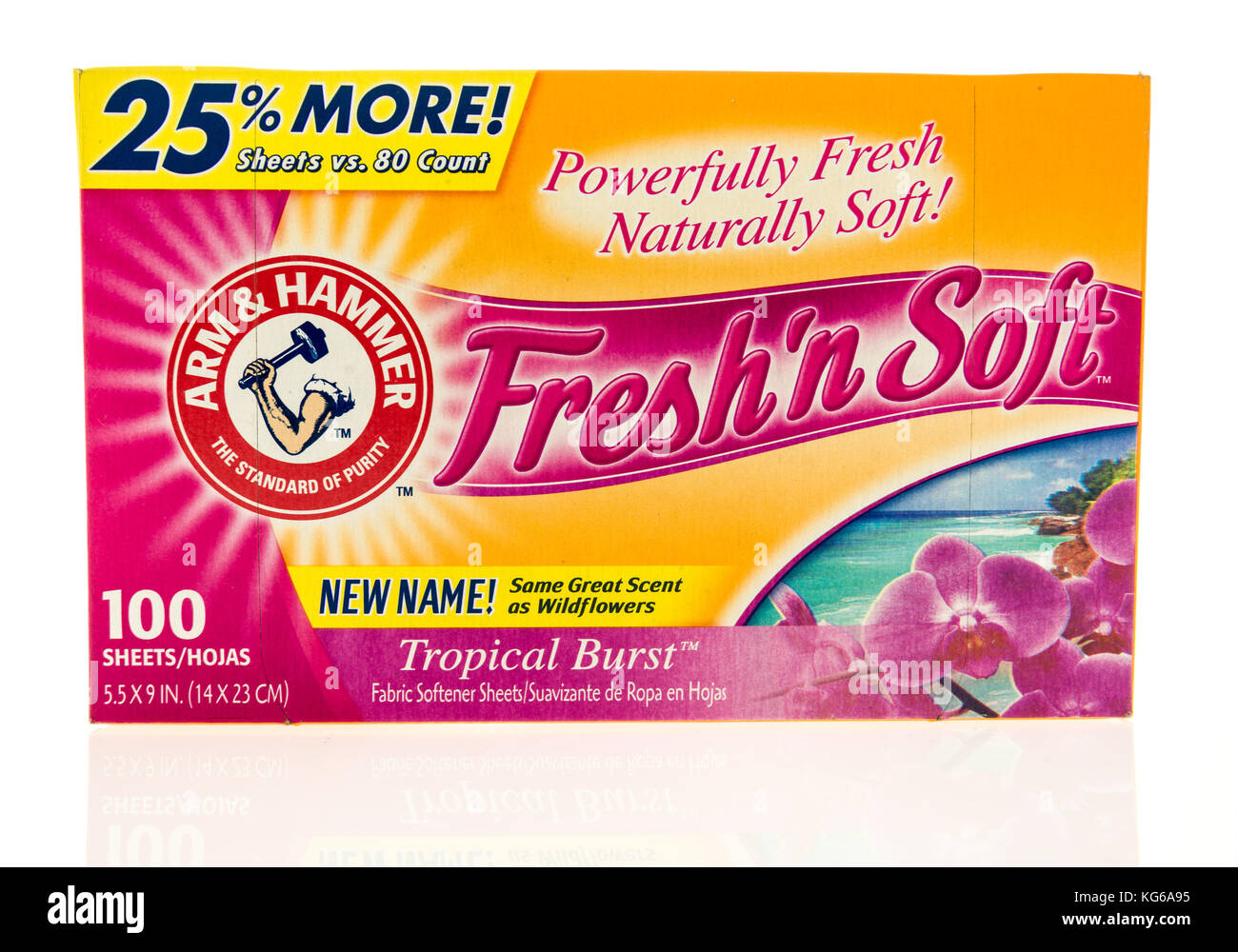 Winneconne, WI - 31 October 2017:  A container of Arm & Hammer Fresh'n Soft fabric softner sheets on an isolated Stock Photo