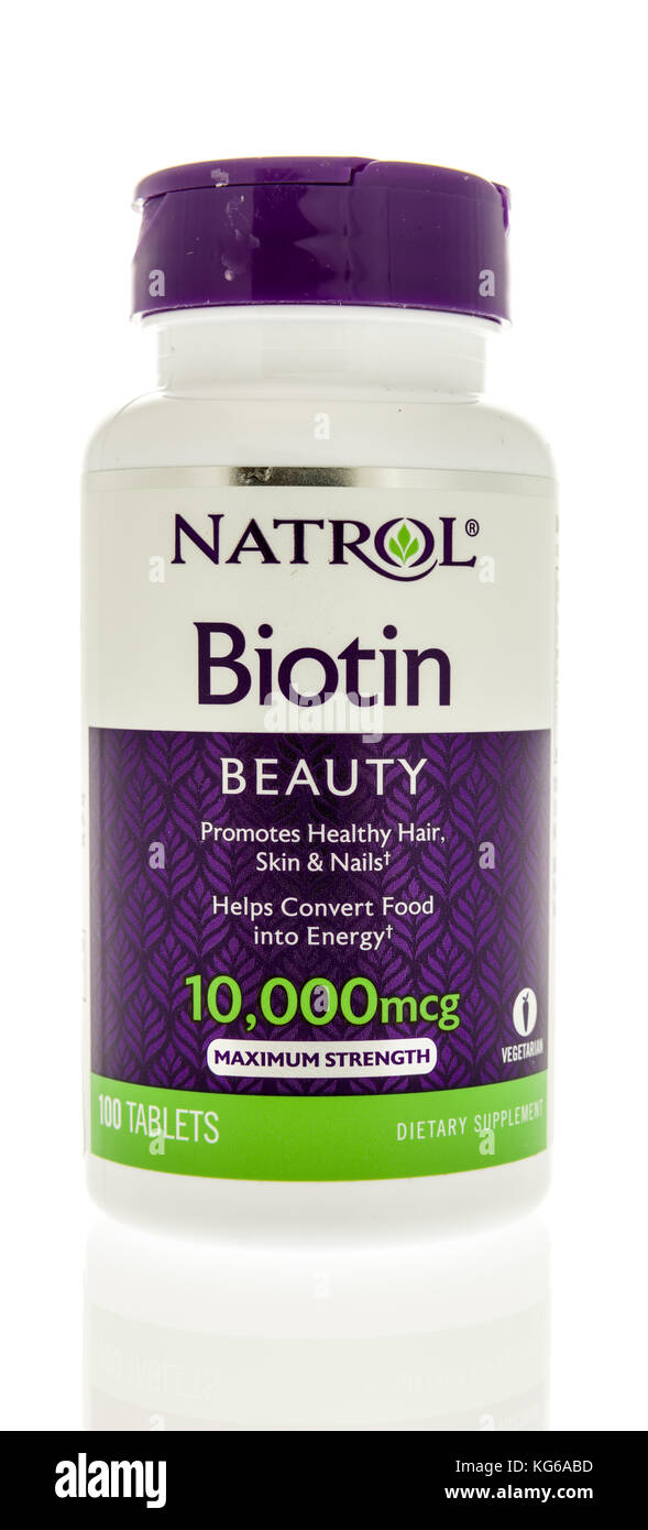 Winneconne, WI - 31 October 2017:  A bottle of Natrol bitoin supplement on an isolated background. Stock Photo