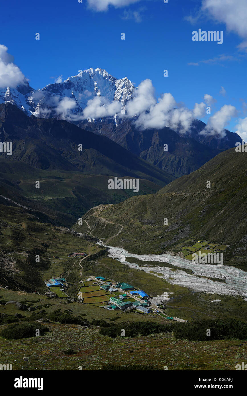 Periche Village From Above, Everest Base Camp Trek From Dingboche to Lobuche , Nepal - Stock Image