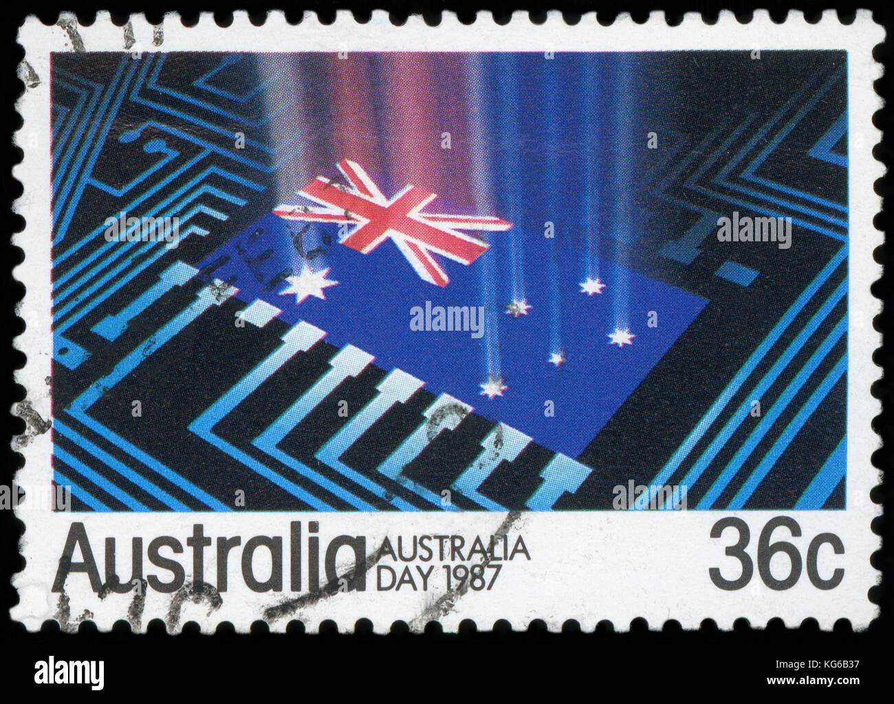 AUSTRALIA - CIRCA 1987:A Cancelled postage stamp from Australia illustrating Australia Day, issued in 1987. - Stock Image