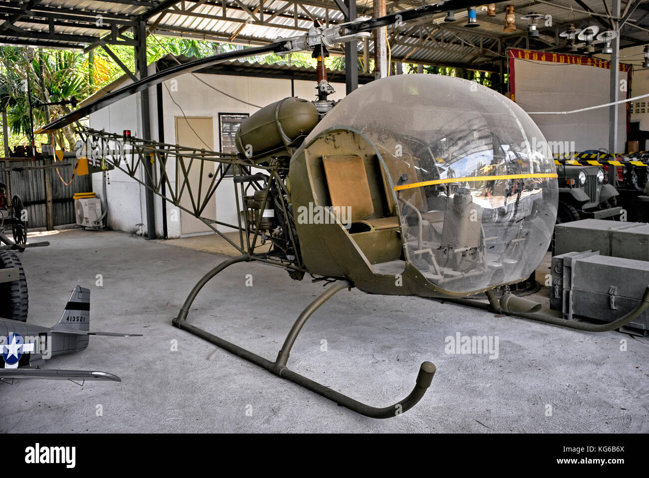 Vintage Military Helicopter, USA, Mobile Army Surgical Hospital (MASH), Korean war, Sioux OH-13 - Stock Image