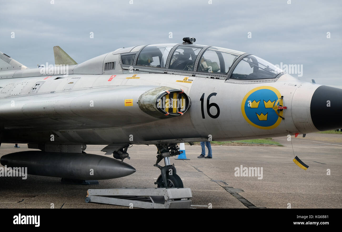 SAAB Draken, Swedish fast jet fighter manufactured 1955 to 1974. - Stock Image