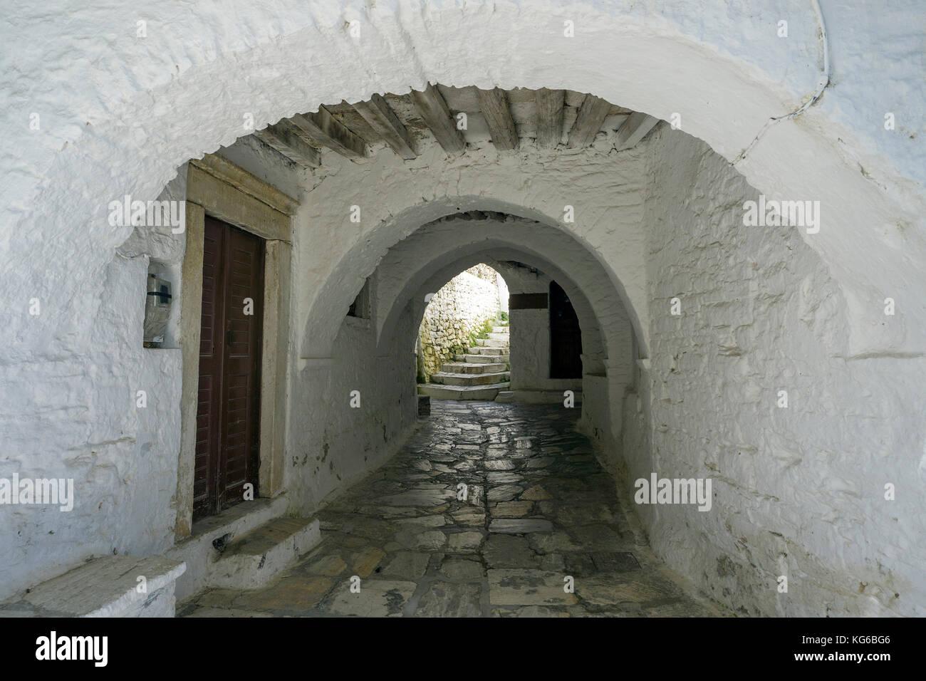 Passage at the mountain village Apiranthos, Naxos island, Cyclades, Aegean, Greece Stock Photo