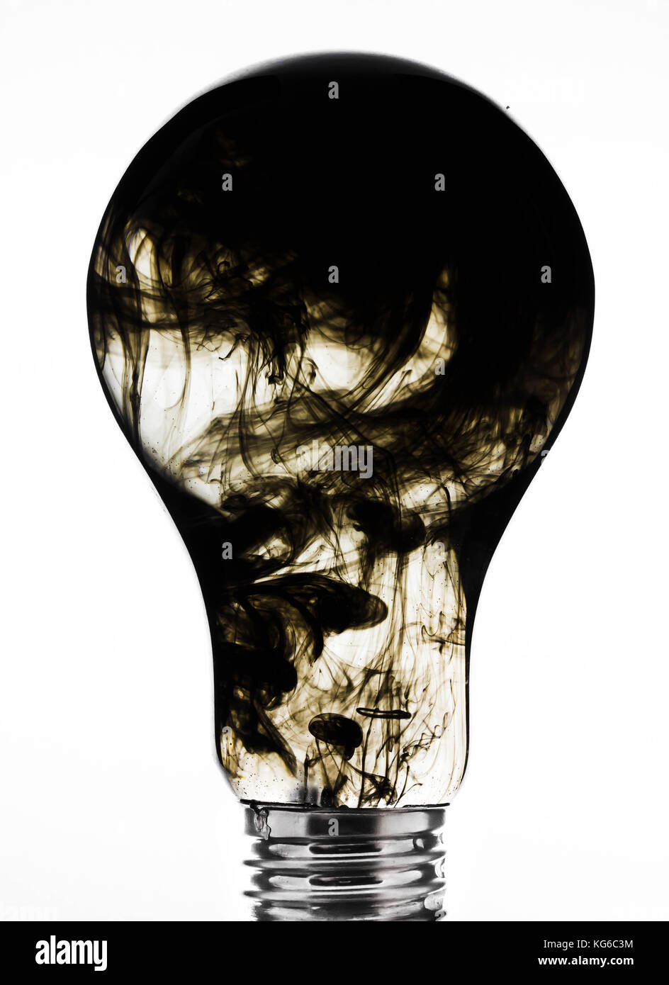 In the bulb ink clouds, as the versatility of uneconomical use of electricity - Stock Image