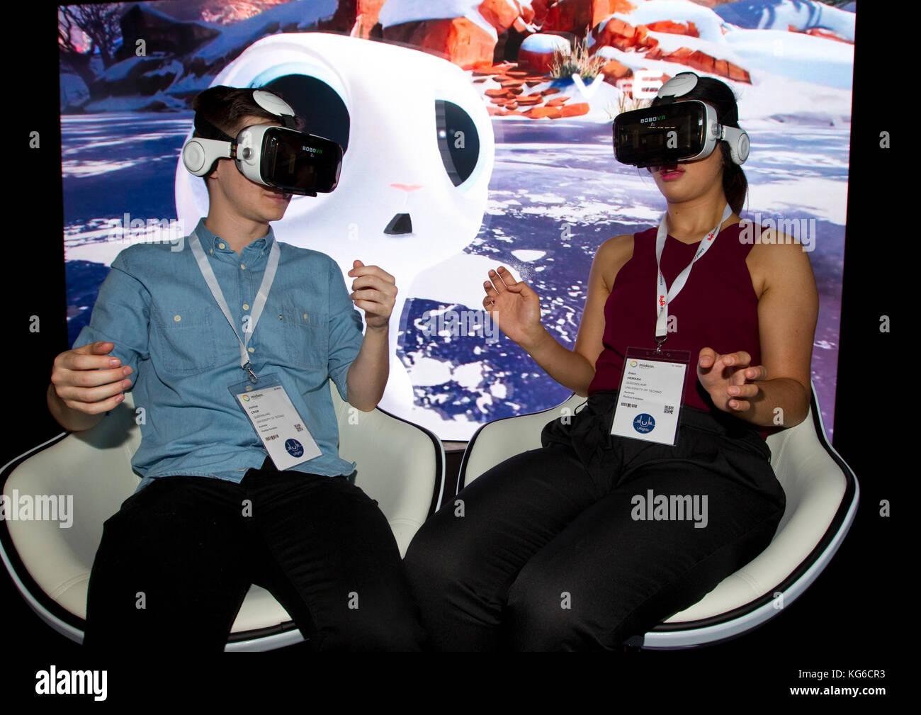 Cannes, France - June 07, 2017: Midem, the International B2B music market, VRTigo Stand Presentation with VR Virtual Reality Stock Photo