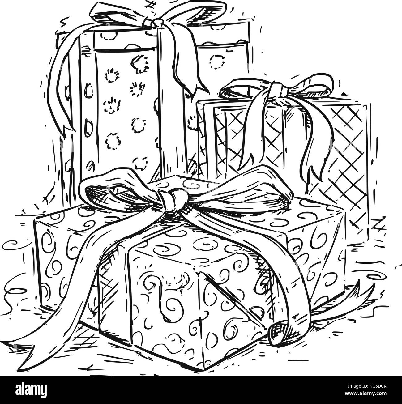 Vector Drawing Illustration Of Three Christmas Gift Boxes With Ribbon And Decorative Wrap