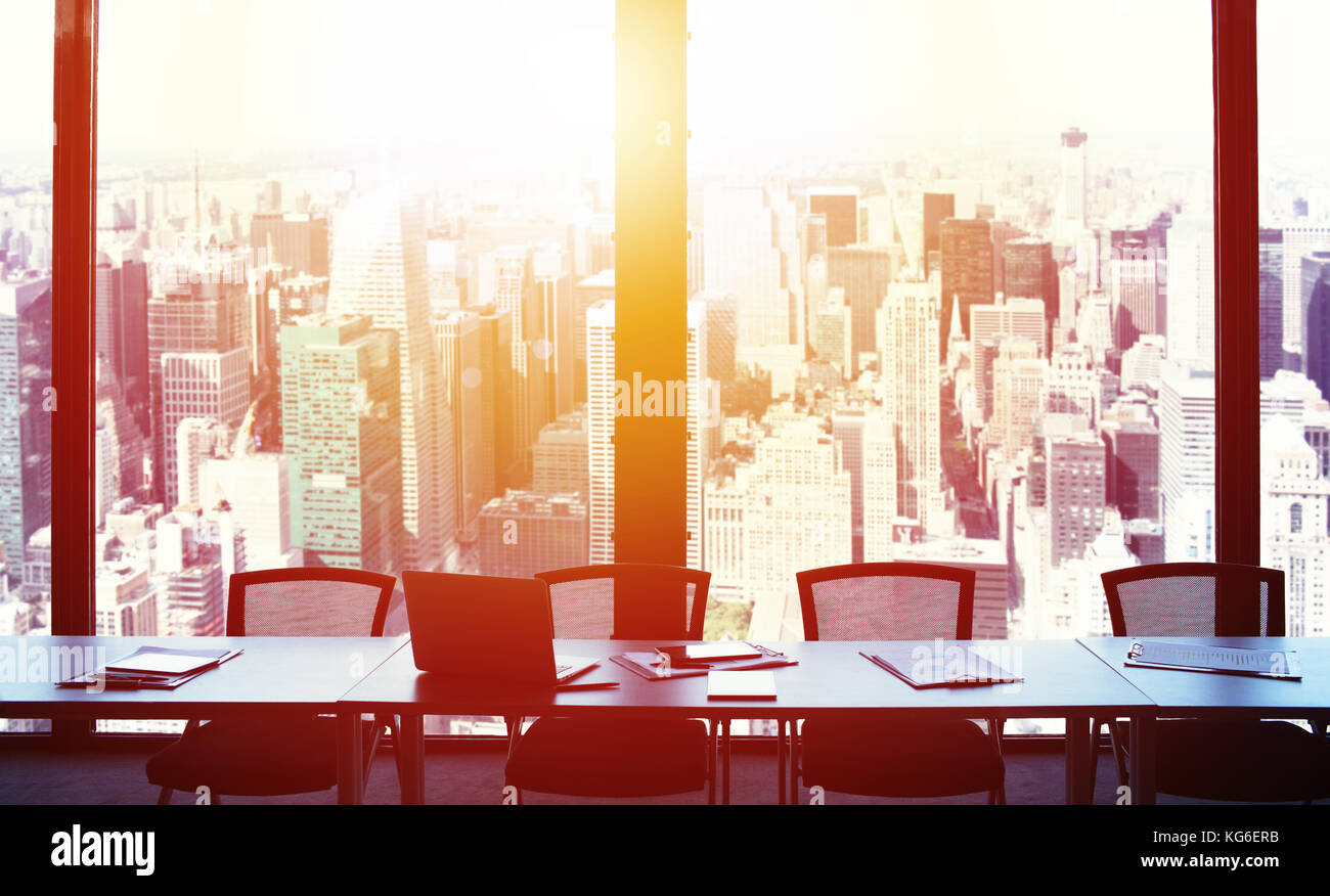 Modern office view during sunrise - Stock Image