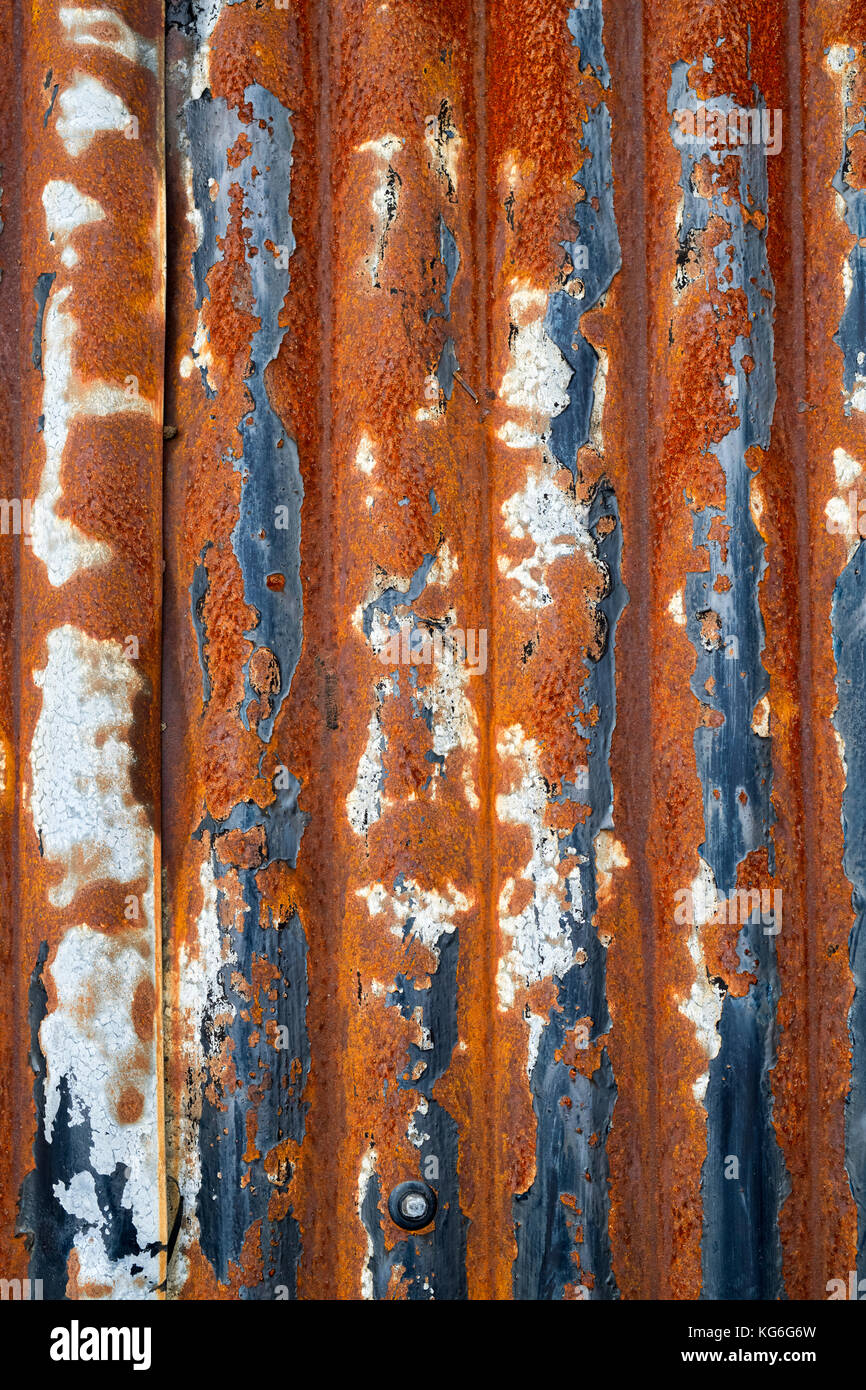 Old Rusted Corragated Tin Roof Panels On A Garage Roof