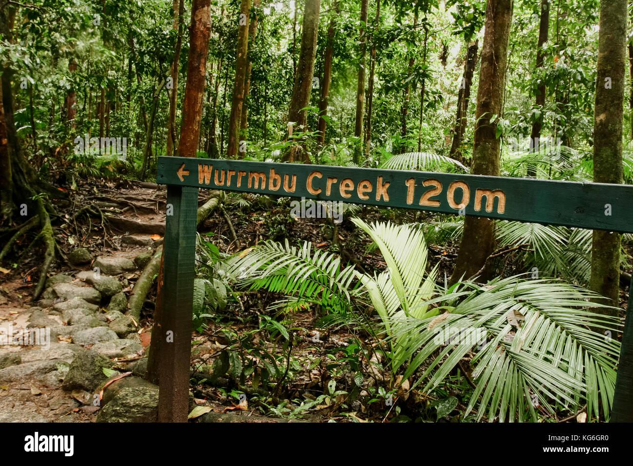 Wurrmbu trail sign Mossman gorge, Australia Stock Photo