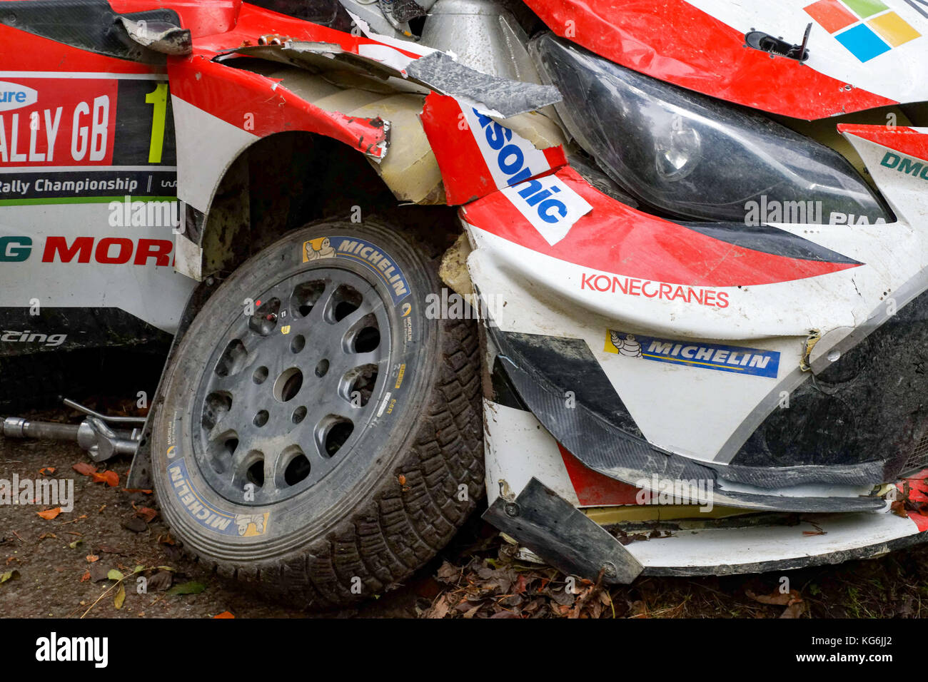 The wrecked Toyota Yaris WRC rally car of #11 Juho Hanninen (FIN ...