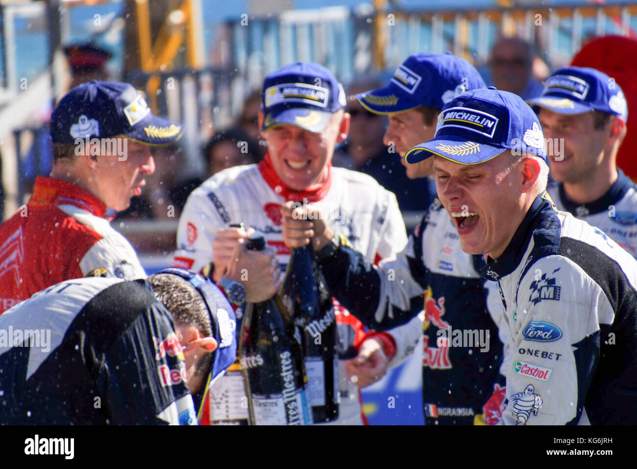 Winning drivers celebrate following the Rally de España round of the ...