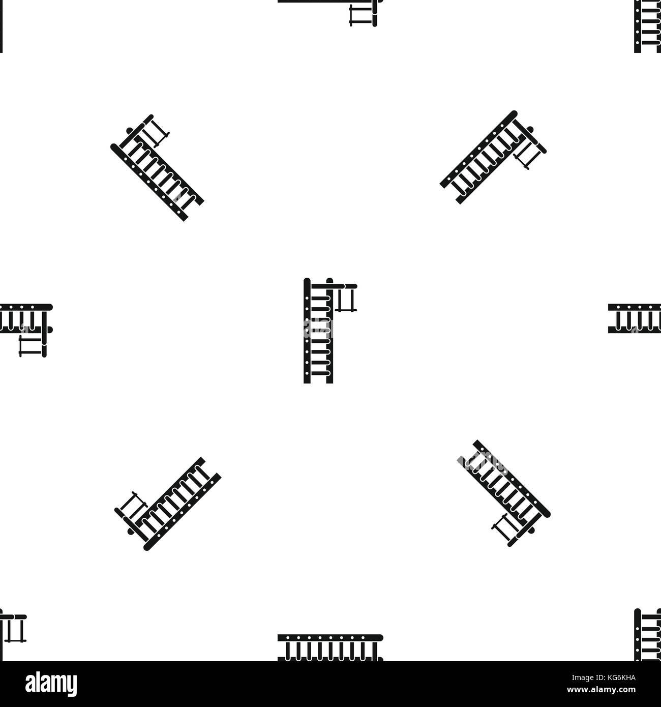 Swedish ladder pattern seamless black - Stock Image