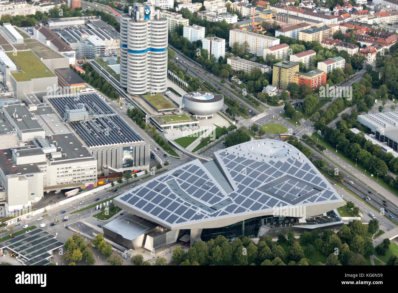 aerial view of BMW headquarters and World (Welt), Munich, Bavaria, Germany - Stock Image