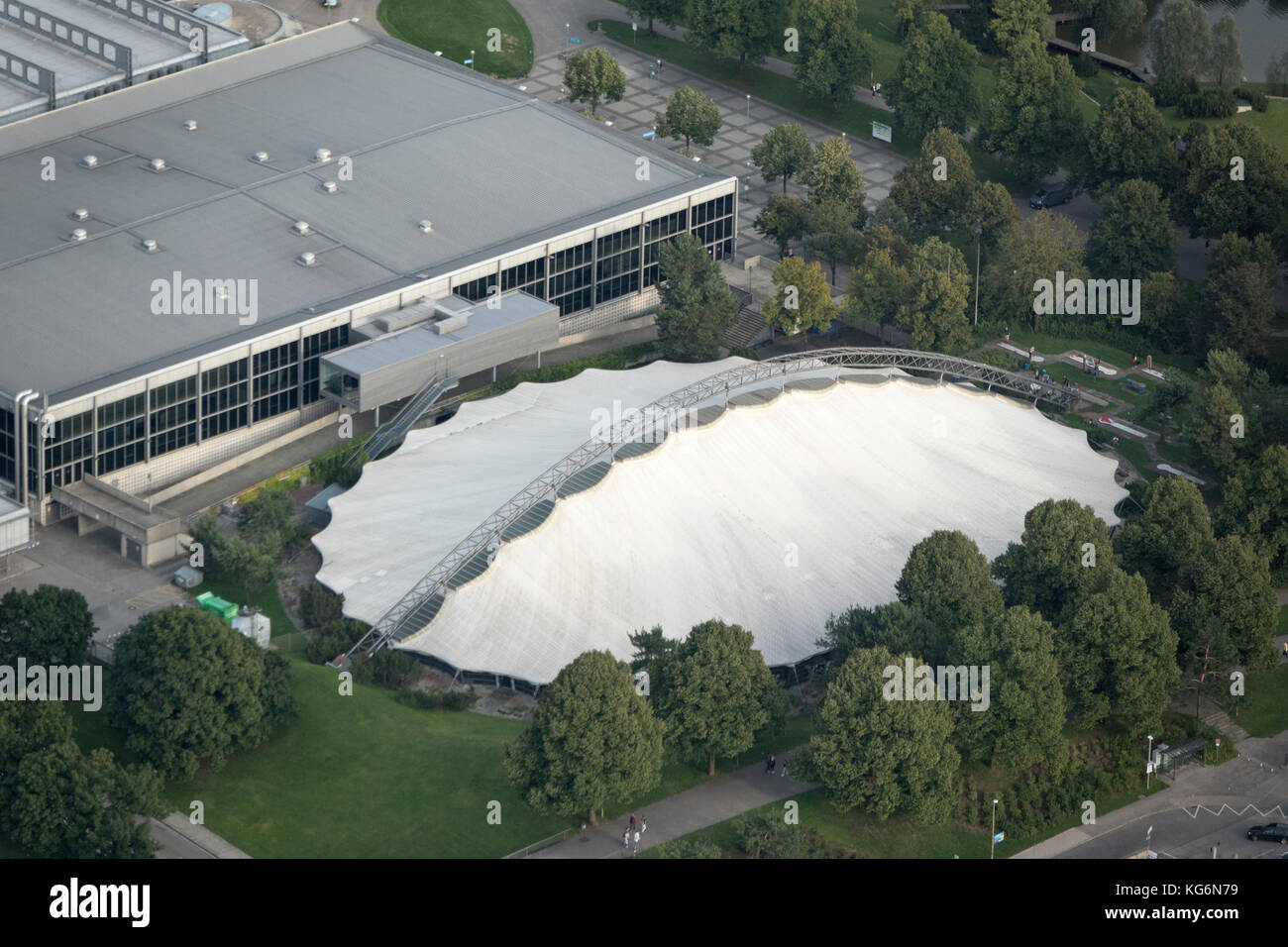 aerial view of Olympic Park (Olympiapark München), Munich, Bavaria, Germany - Stock Image
