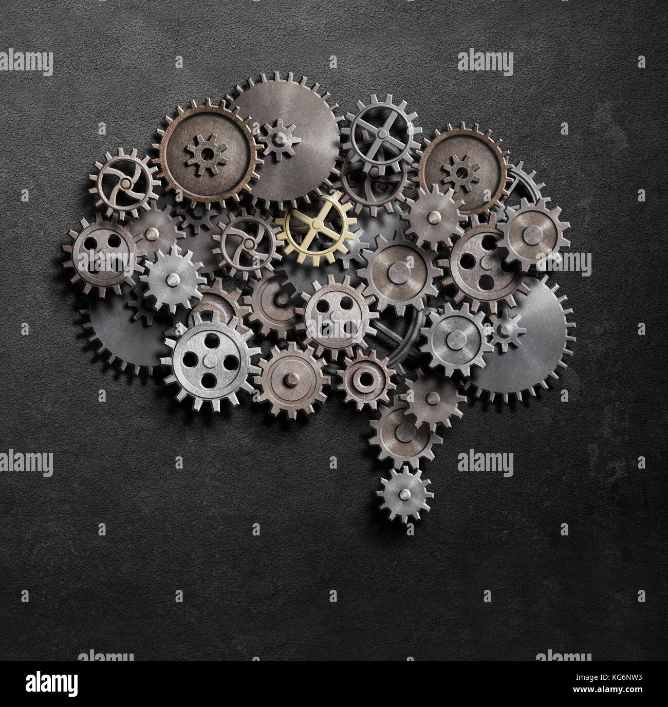 Brain gears and cogs model 3d illustration - Stock Image