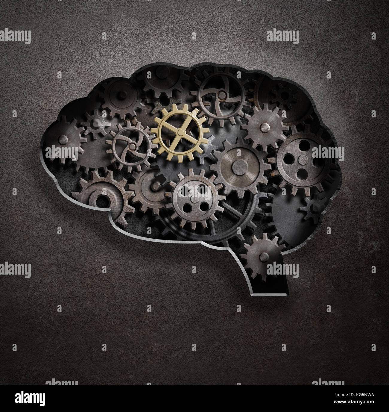 Brain gears and cogs concept 3d illustration - Stock Image