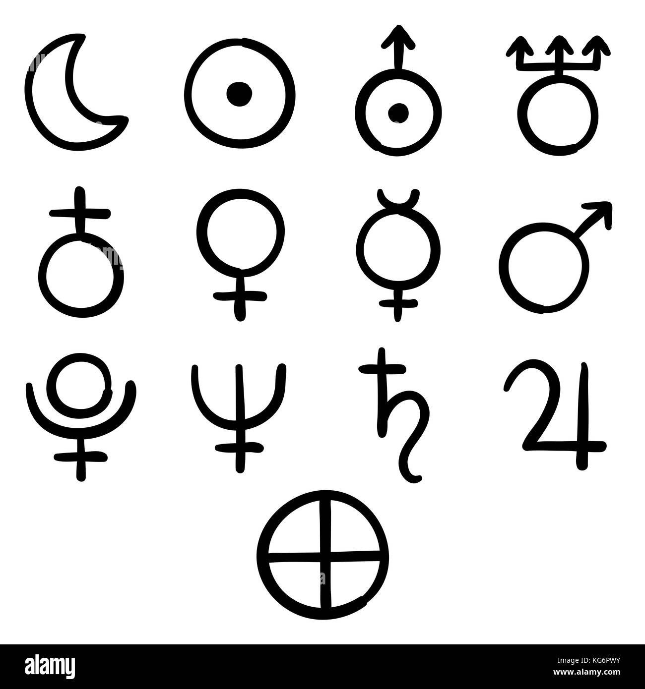 Set of icons for the planets, sun and moon with Venus, Mars, Jupiter, Uranus, Earth, Mercury, Saturn, Neptune and - Stock Image