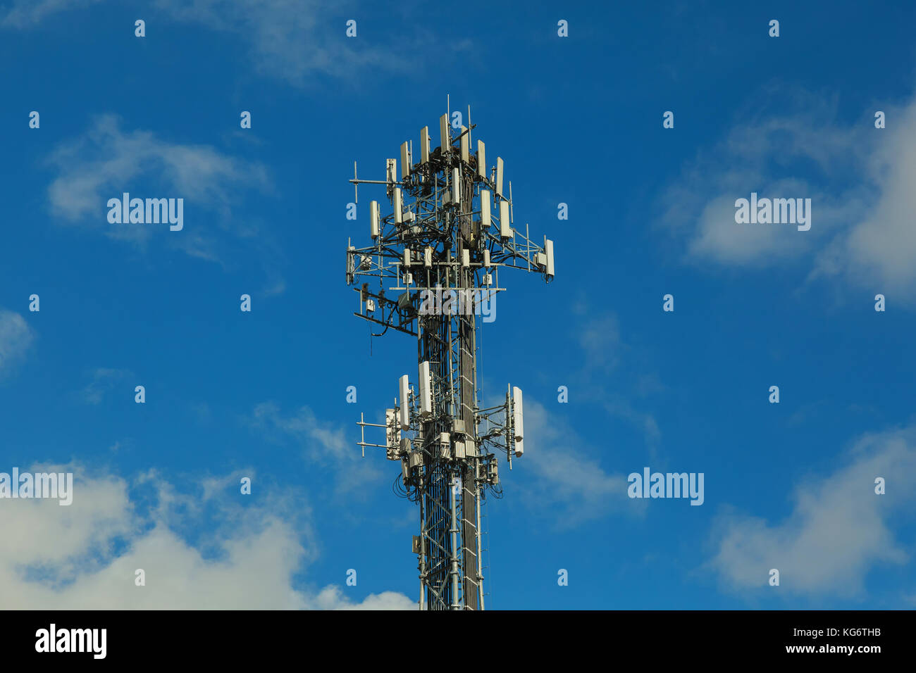 The signals transmitted by the antenna as an intermediary. Communications with authority to humans at present very - Stock Image