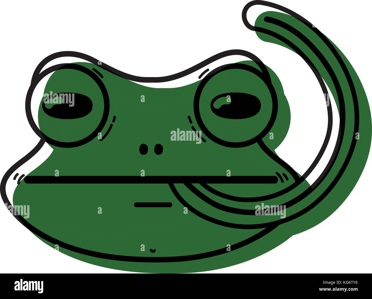 cute flog wild animal with tongue out vector illustration - Stock Image