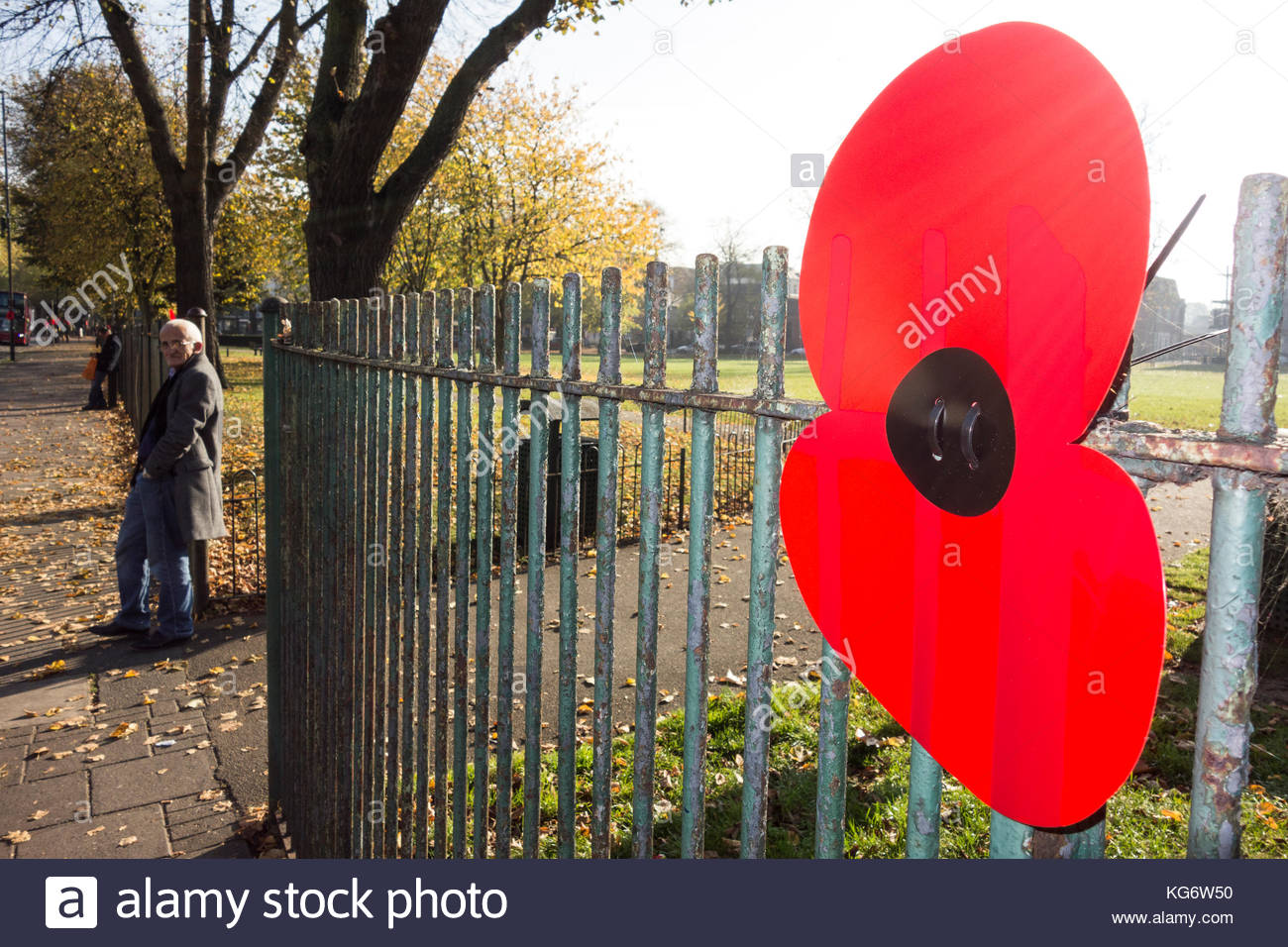 A giant poppy as part of a Remembrance memorial on Turnham Green in Chiswick, west London, UK. - Stock Image