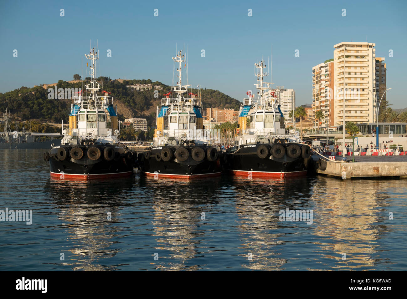 Tugboats. Port of Málaga, Andalusia, Spain. - Stock Image