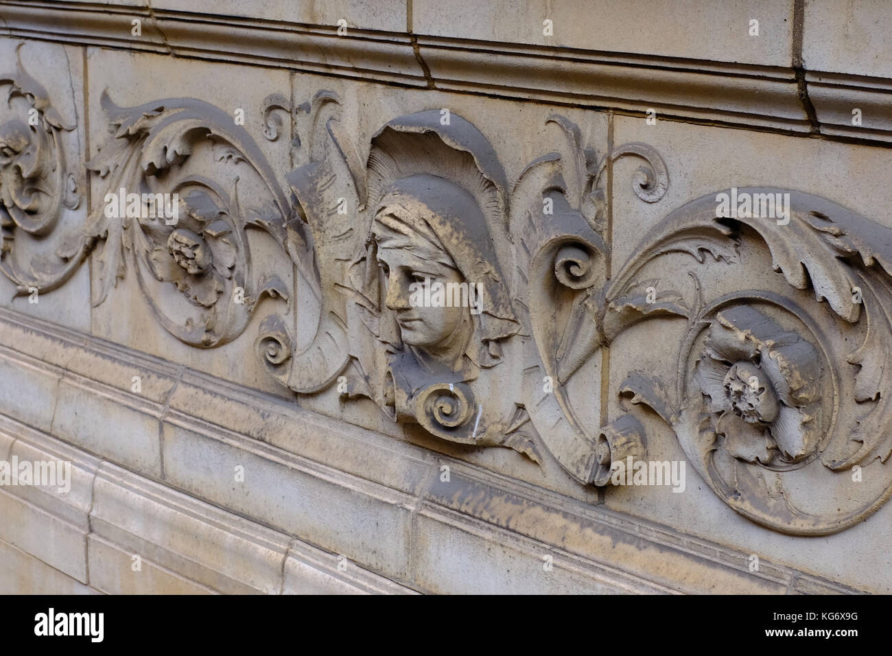 Stone craving on a victorian building in Spanish Place, Marylebone, London - Stock Image