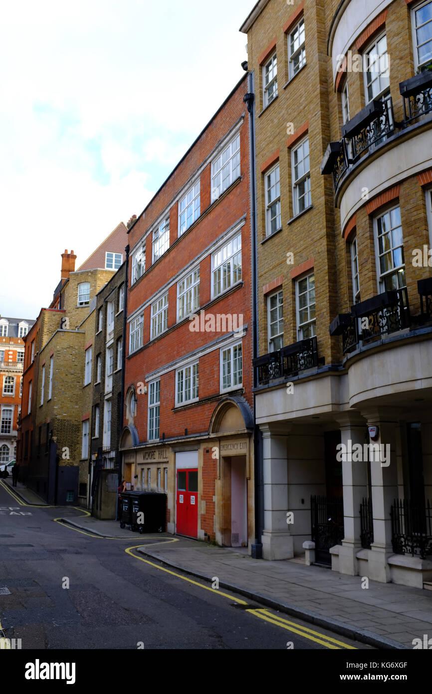 Wigmore Hall Artistes Entrance, Welbeck way, Marylebone, London UK Stock Photo