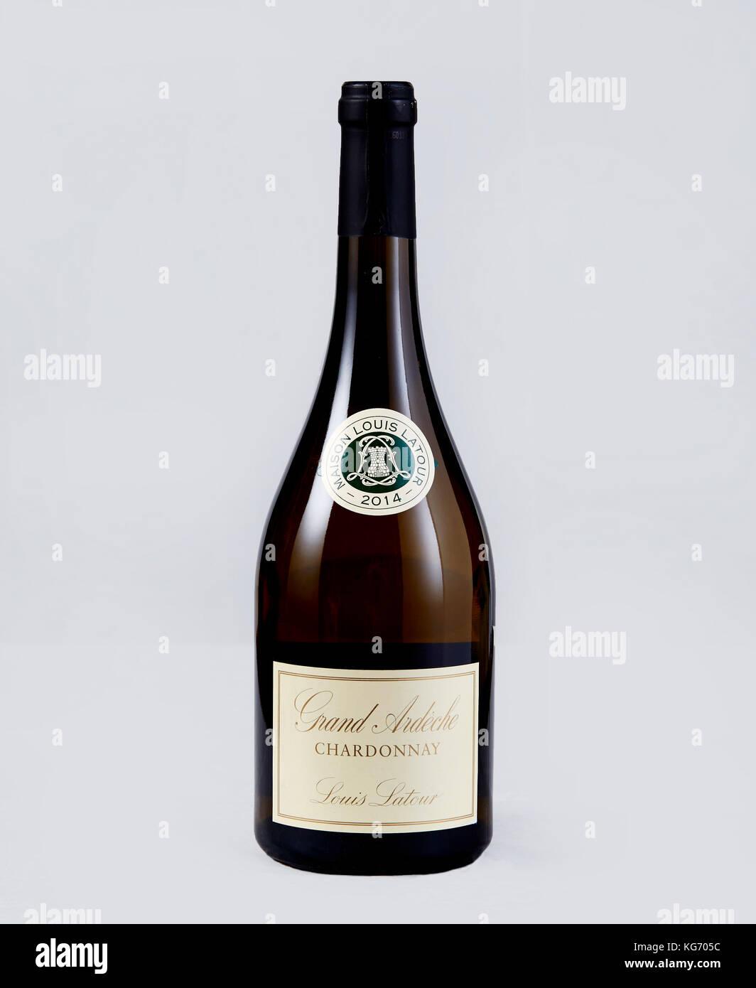 Bottle of Grande Ardeche Chardonnay - Stock Image