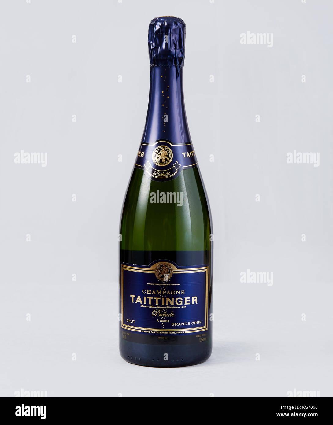 Bottle of Taittinger Champagne - Stock Image