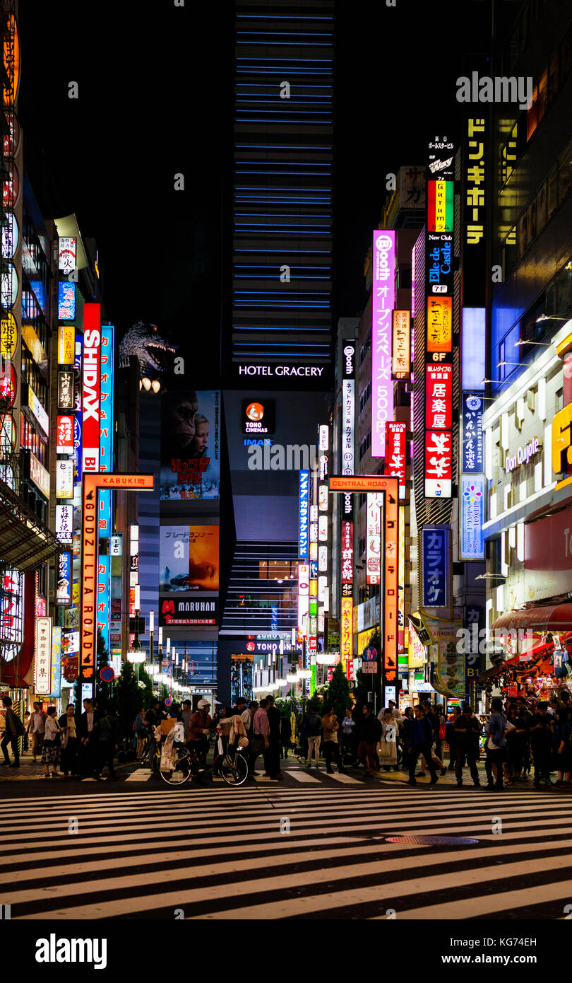 Godzilla Road in Kabukicho, the entertainment district of Shinjuku in Tokyo, with the head of the famous monster - Stock Image