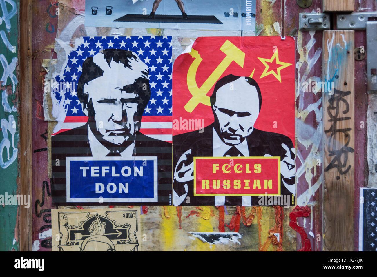 Bast's Teflon Don and Fools Russian street art below door of H. Suskin LTD. General Textile & Trimming Merchants, - Stock Image