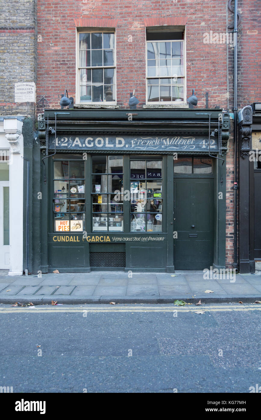 Cundall and Garcia (A. Gold, French Milliner) deli shop front on store front in Brushfield Street, Spitalfields, - Stock Image