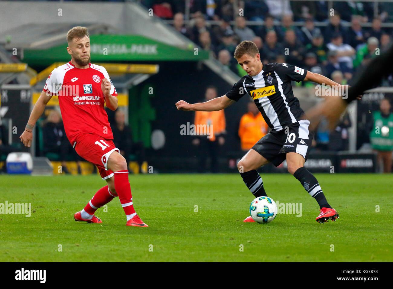 sports,football,Bundesliga,2017/2018,Borussia Moenchengladbach vs 1. FSV Mainz 05 1:1,Stadium Borussia Park,scene - Stock Image