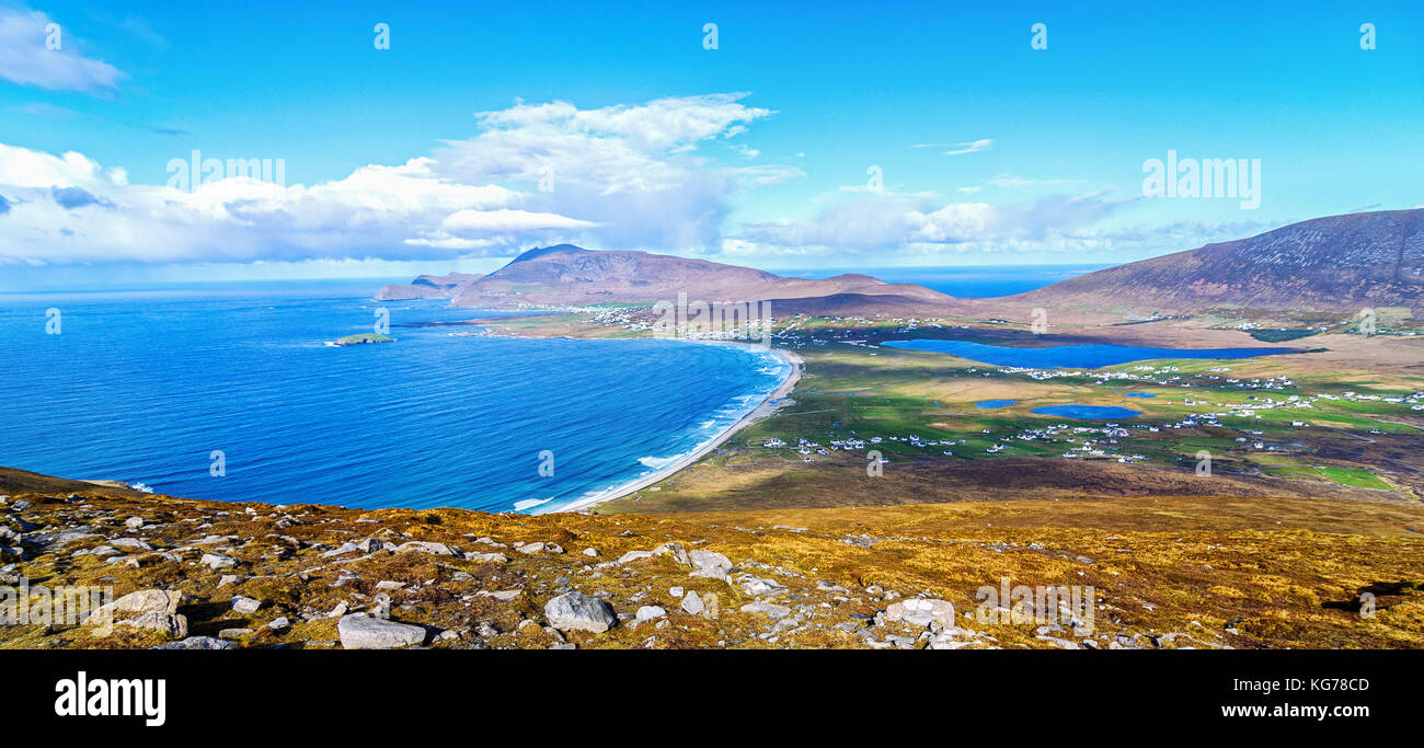 birds eye aerial view from top of a mountain in achill island. beautiful irish landscape and seascape of achill - Stock Image