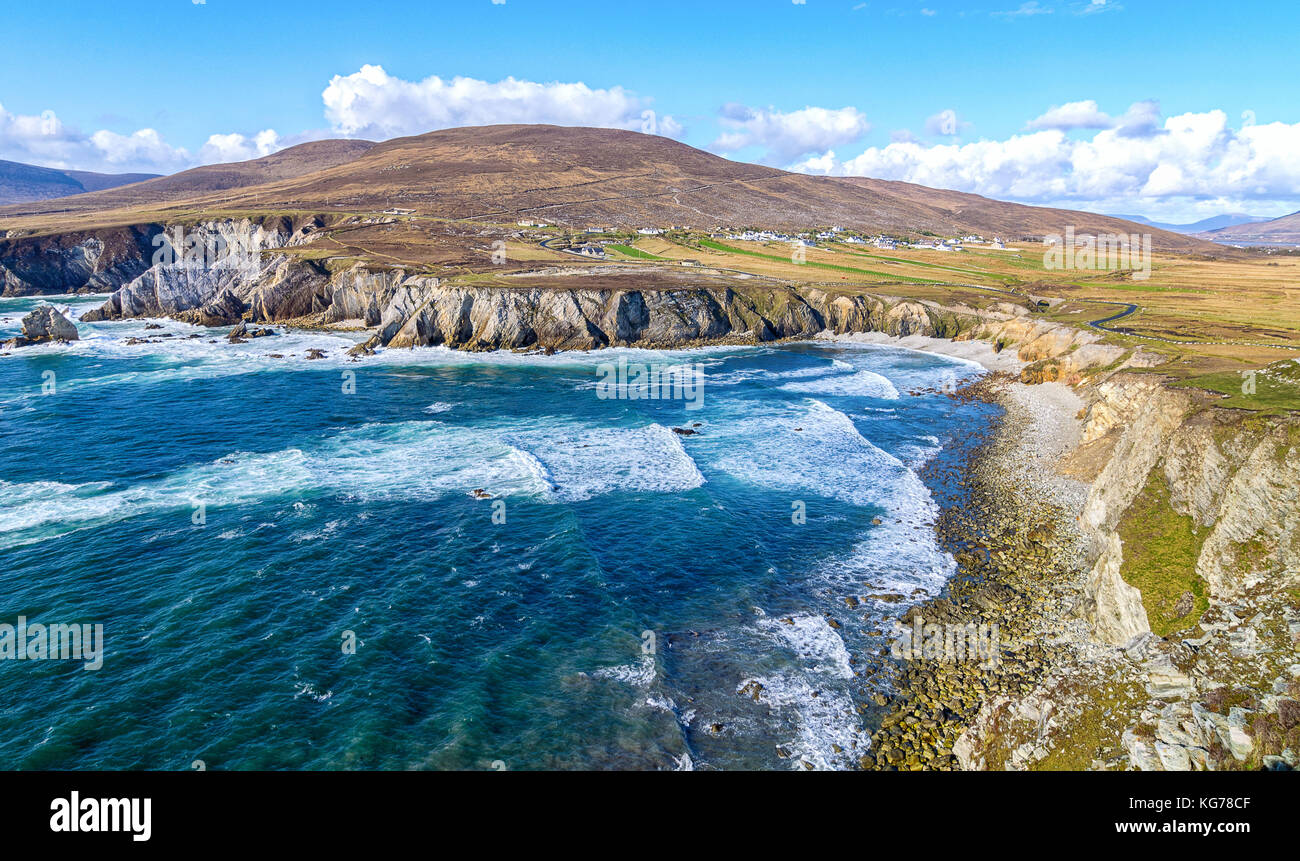 beautiful rural irish country nature landscape from the north west of ireland. scenic achill island along the wild - Stock Image