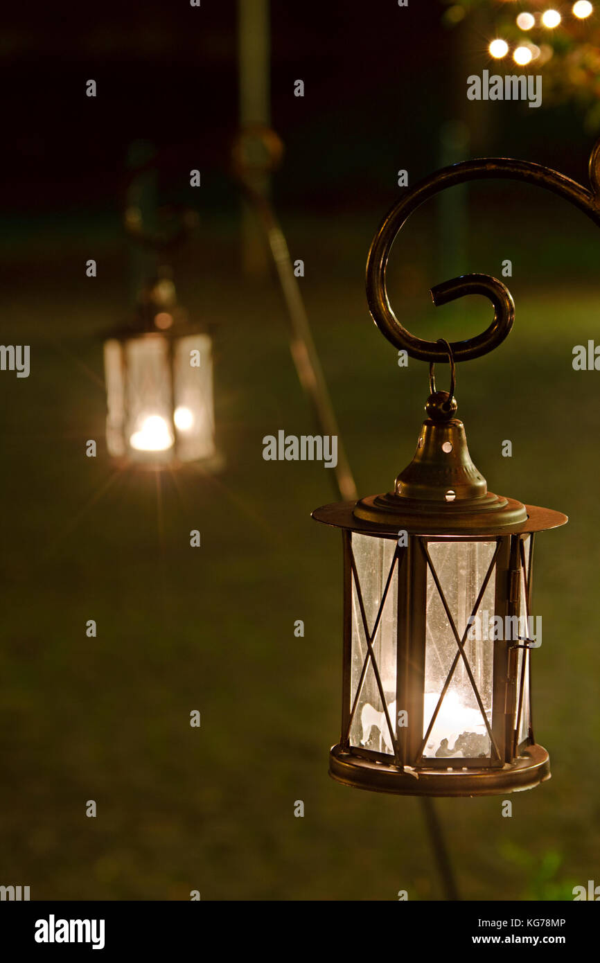 two outdoor christmas lanterns with selective focus stock image