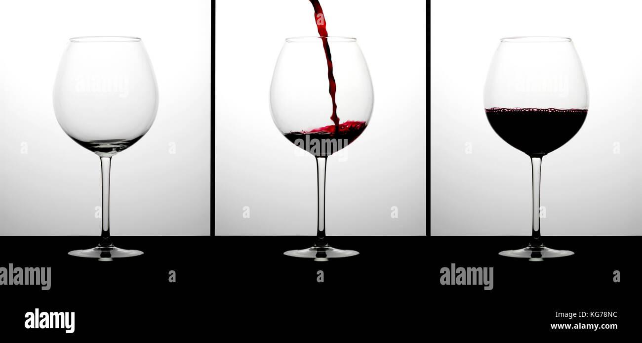 Three glasses of wine - Stock Image
