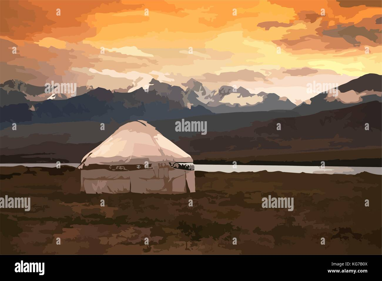 View of Mongolia. Yurts traditional Mongolian dwellings in Mongolian steppe. Mountains on background. Travel sketch. - Stock Vector