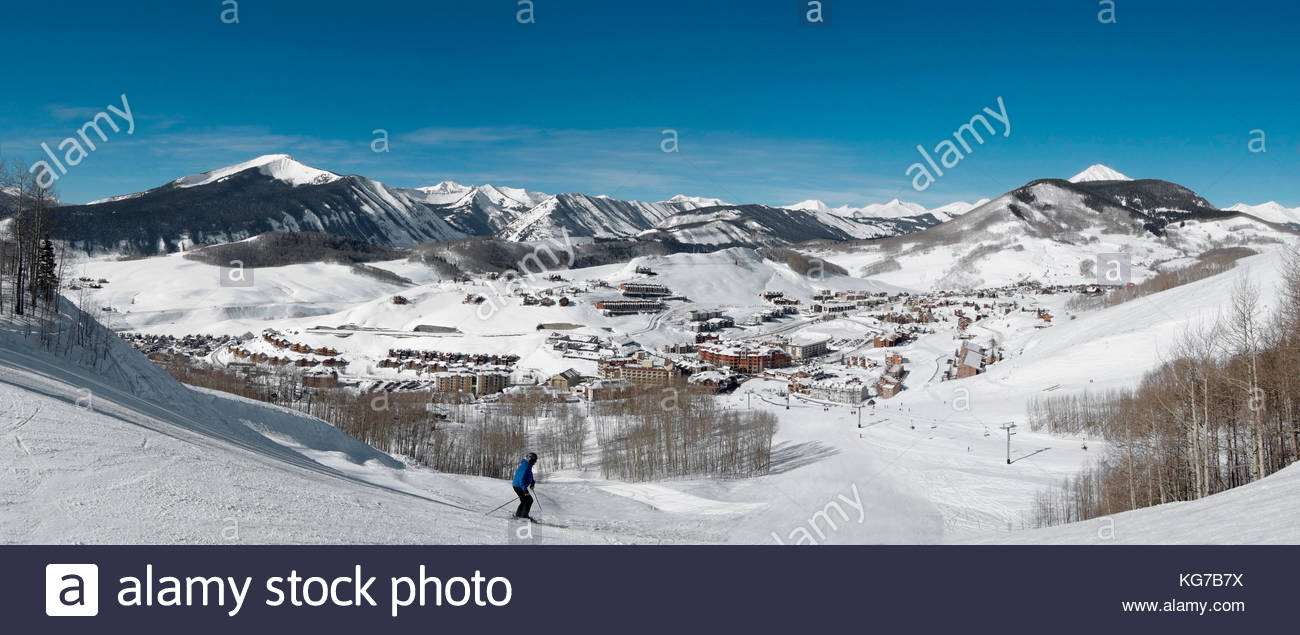 "Crested Butte Mountain Resort base area from ""The Waterfall"" area on International ski trail. Stock Photo"
