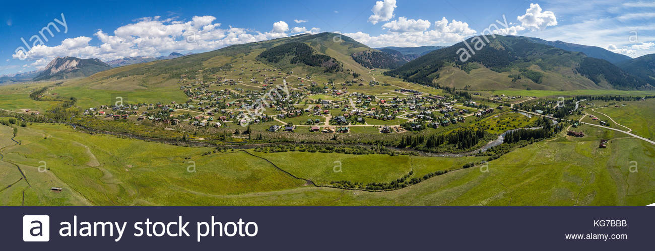 Aerial panorama of the Crested Butte South subdivision near Crested Butte, Colorado. - Stock Image