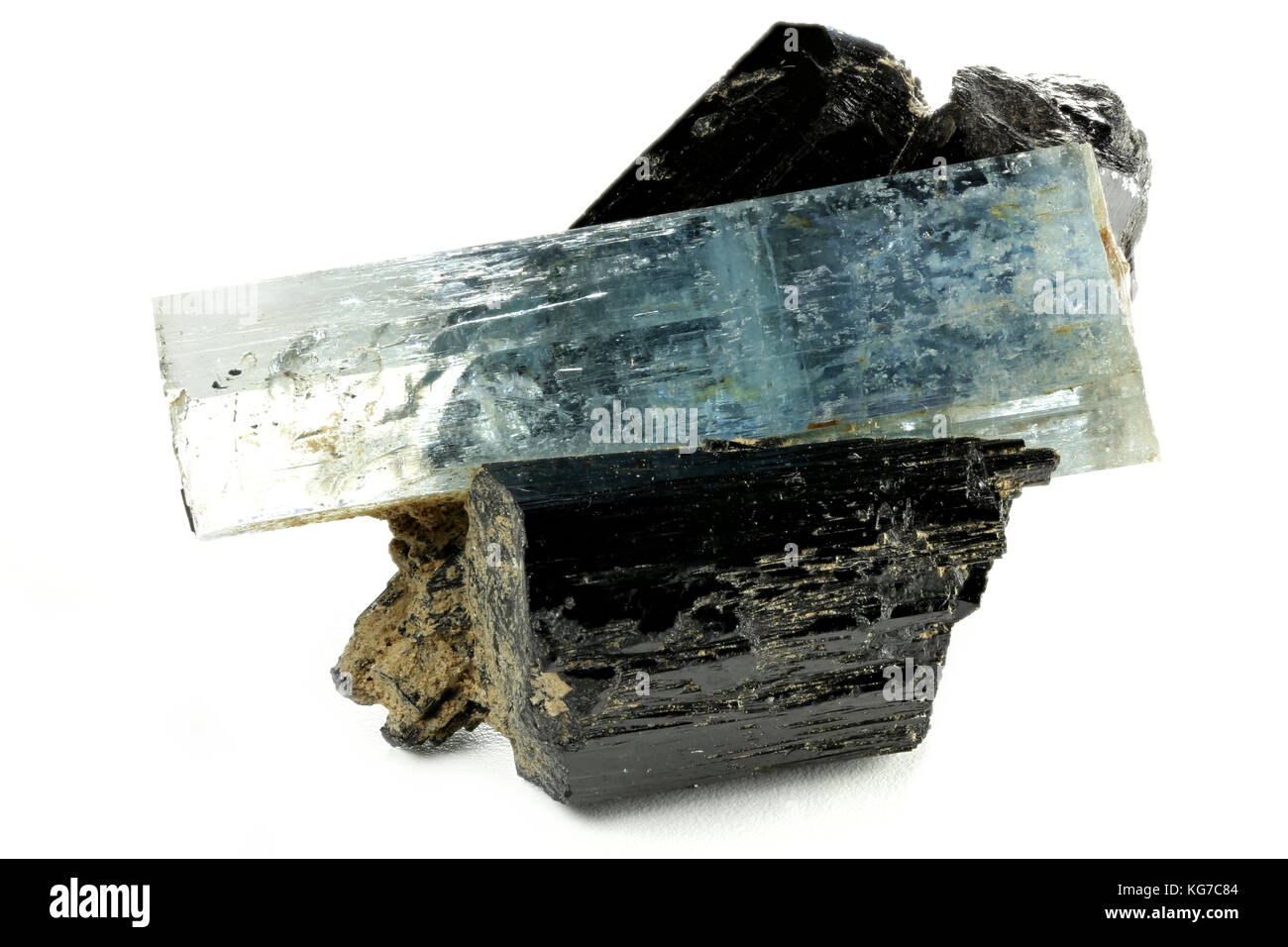 aquamarine crystal with schorl from Erongo/ Namibia isolated on white background - Stock Image
