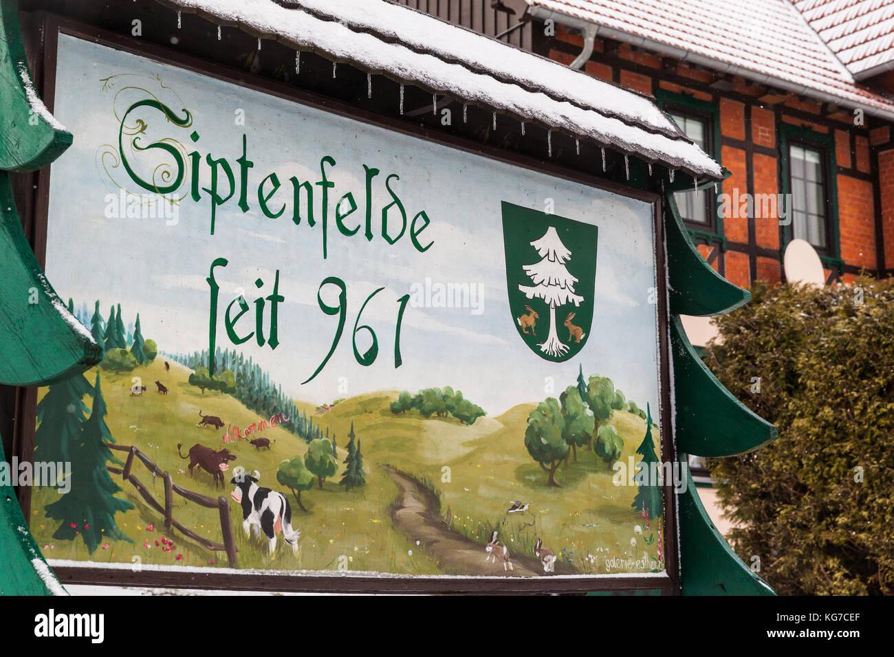 Tafel Siptenfelde seit 961 - Stock Image