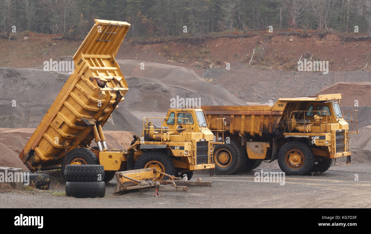 WENTWORTH, CANADA - NOVEMBER 03, 2017: Caterpillar 769C Off-Highway trucks parked in gravel pit. - Stock Image