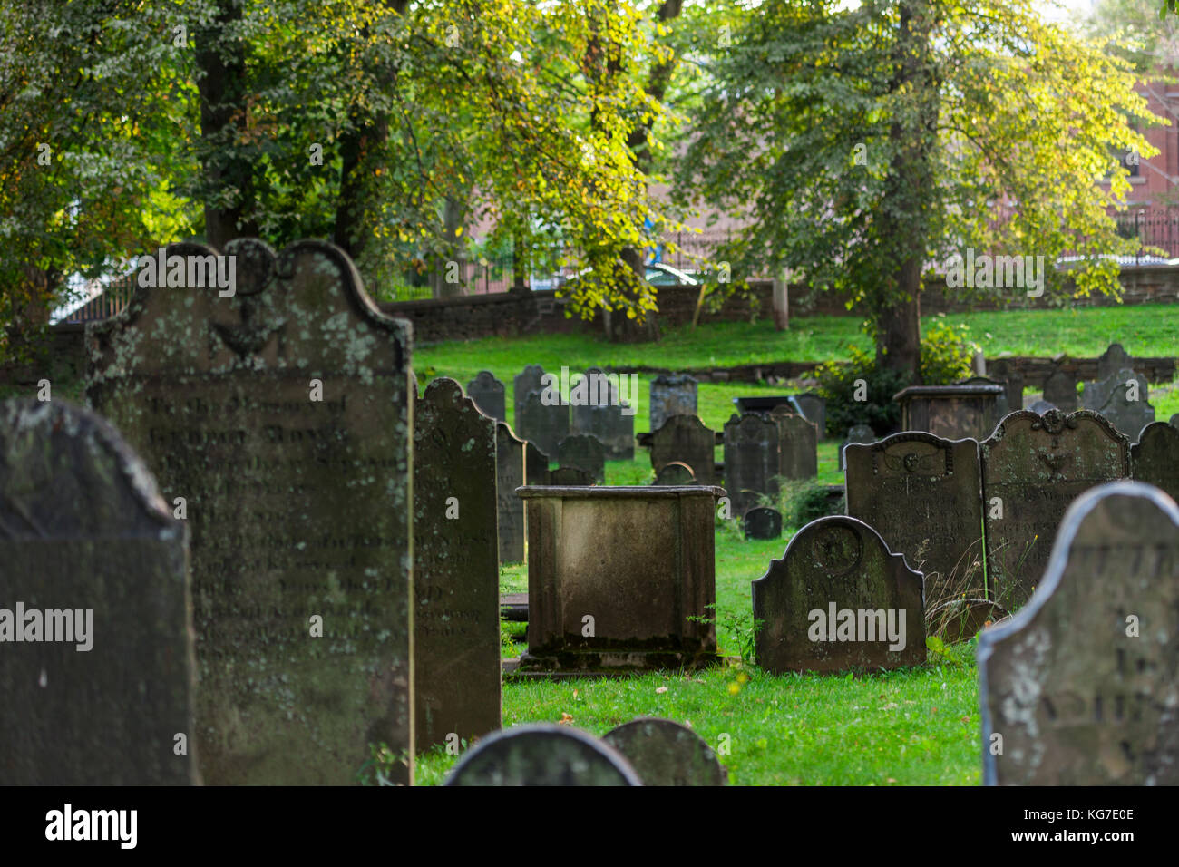 Halifax, Canada - August 29, 2017: The Old Burying Ground opened in 1749 is a National Historic Site of Canada and - Stock Image