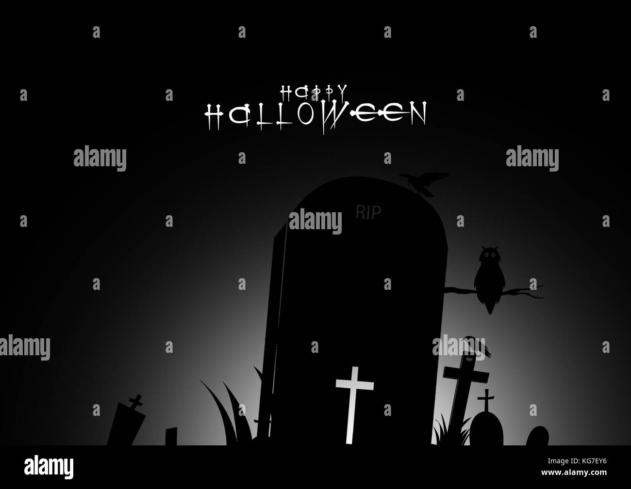 happy halloween text banner black and white design background stock