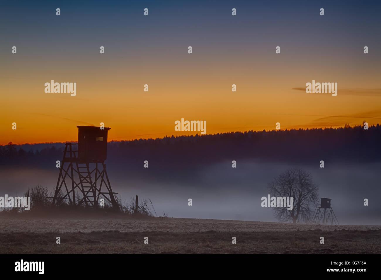 Abendstimmung Sonnenuntergang im Harz - Stock Image