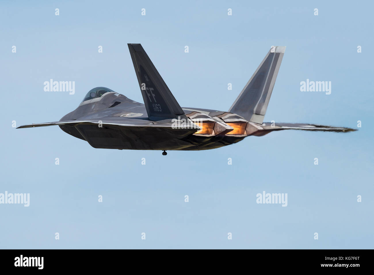 A F-22 Raptor fifth-generation, single-seat, twin-engine, all-weather stealth tactical fighter aircraft developed - Stock Image